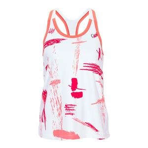 Women`s Art Brush Racerback Tennis Tank Coral