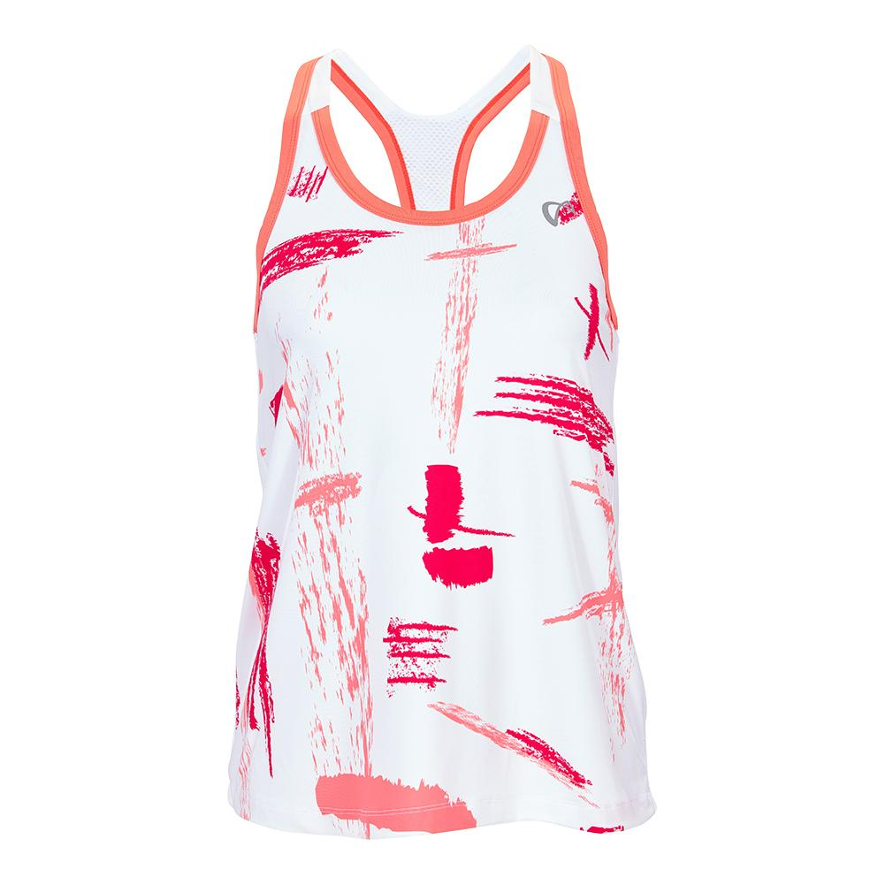 Girls ` Art Brush Racerback Tennis Tank Coral