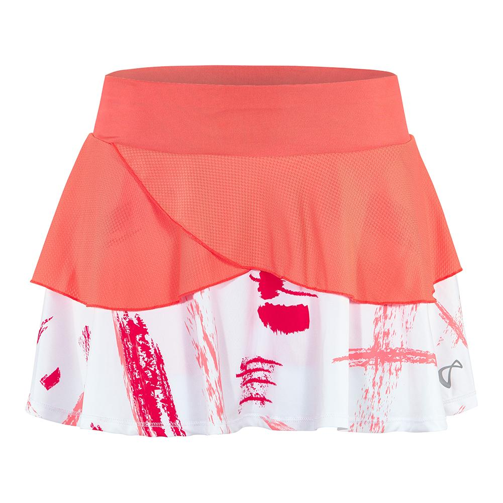 Women's Art Brush Tennis Skort Coral