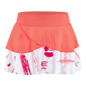 Girls` Art Brush Tennis Skort Coral