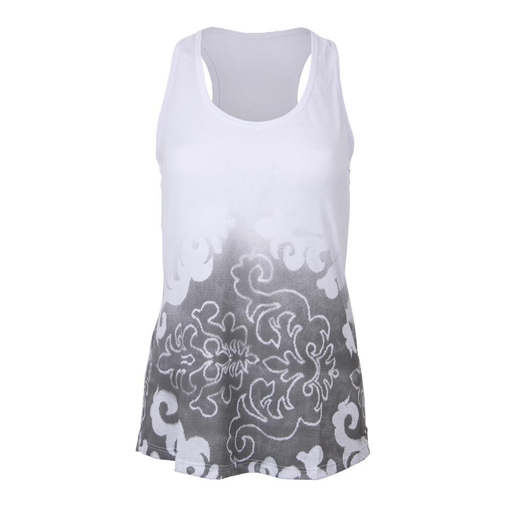 Women's Graffiti Tennis Tank White And Gray