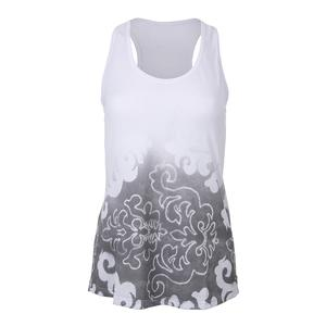 Women`s Graffiti Tennis Tank White and Gray