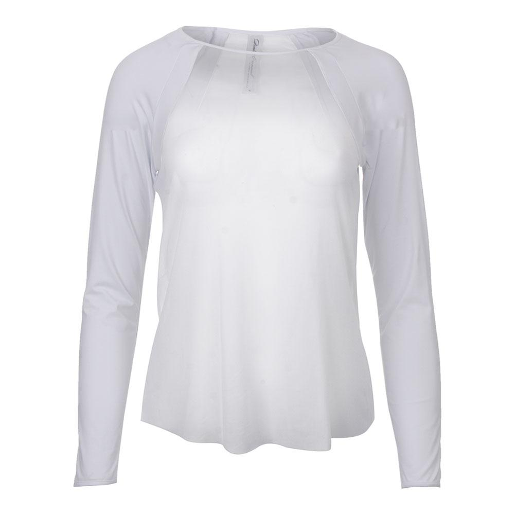 Women's Sheer Body Tennis Top Pure White