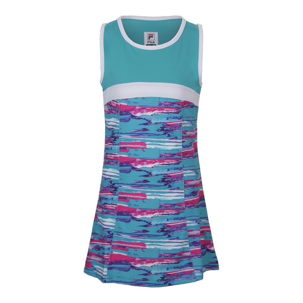 Girls ` Blue Wave Tennis Dress Blue Bird Print