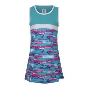 Girls` Blue Wave Tennis Dress Blue Bird Print