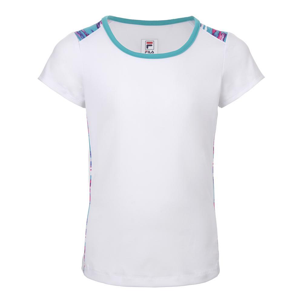 Girls ` Blue Wave Cap Sleeve Tennis Top White And Blue Bird