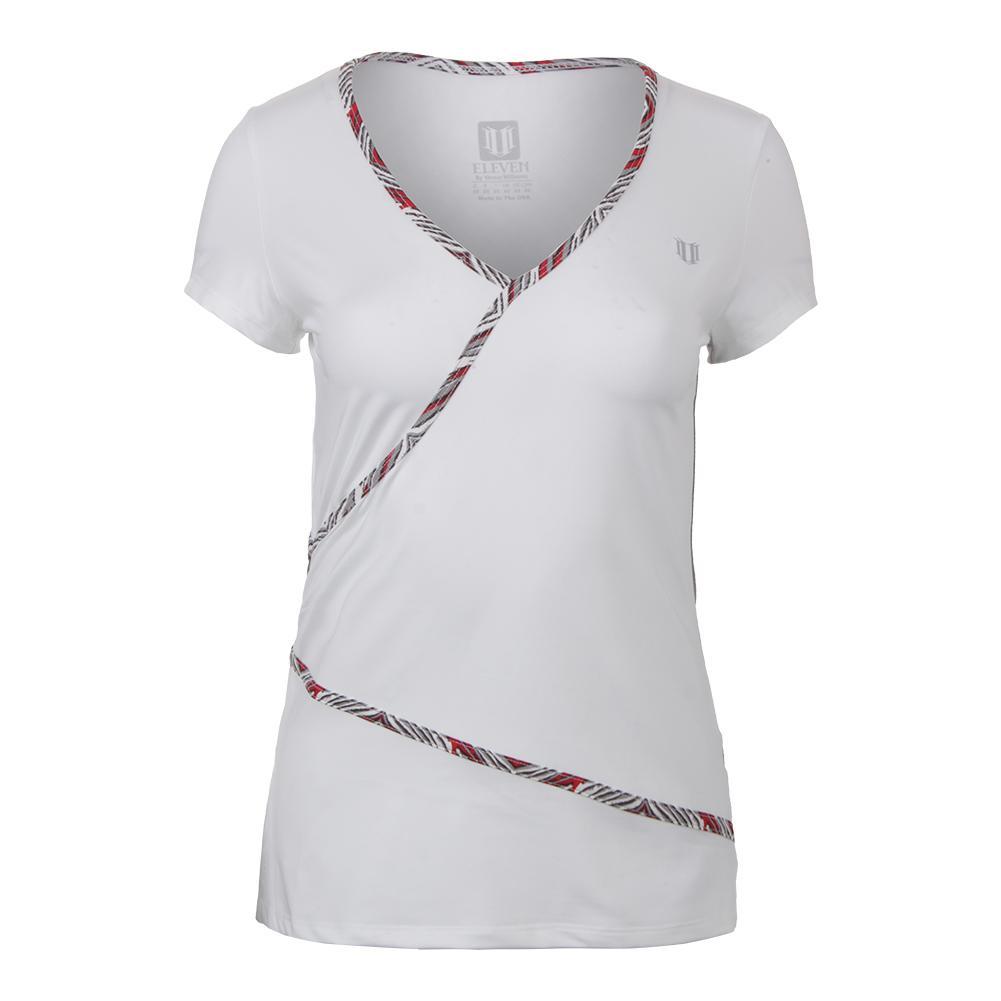 Women's Wrap Short Sleeve Tennis Top White