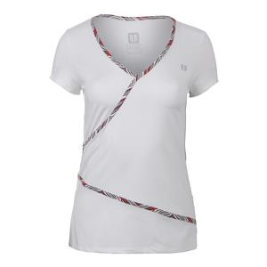 Women`s Wrap Short Sleeve Tennis Top White