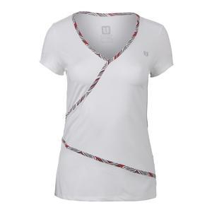 Women`s Wrap Short Sleeve Tennis Top White