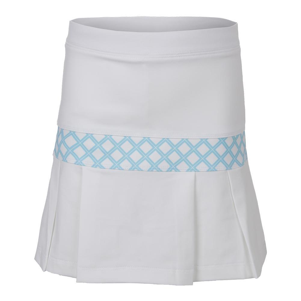 Girls ` Pleat Trim Tennis Skort White