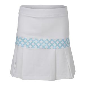Girls` Pleat Trim Tennis Skort White