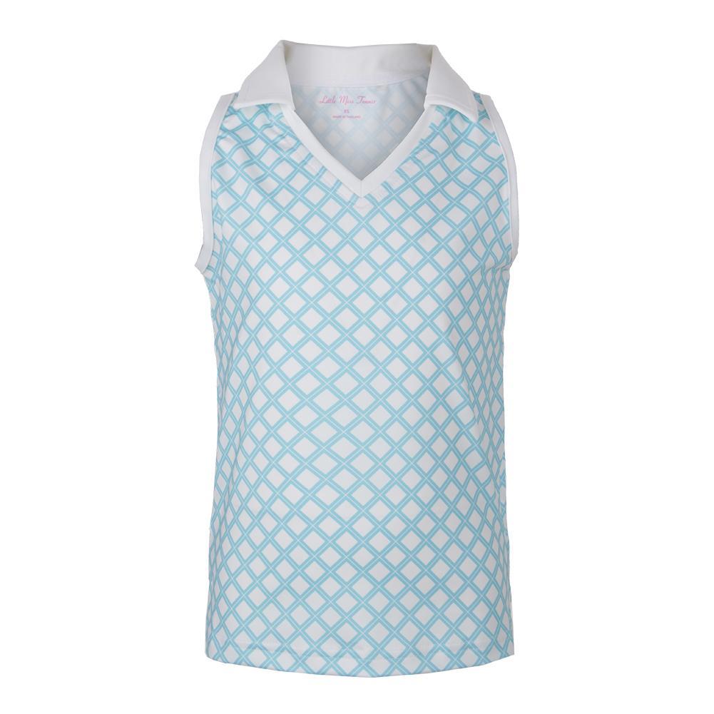 Girls ` V- Neck Sleeveless Tennis Polo Pattern