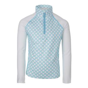 Girls` Long Sleeve 1/2 Zip Tennis Top Pattern