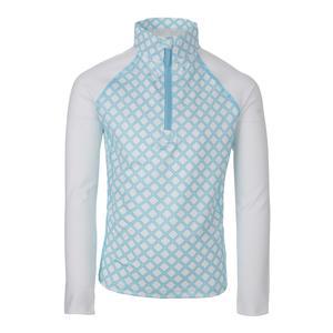 Girls` Long Sleeve 1/2 Zip Tennis Top Pattern