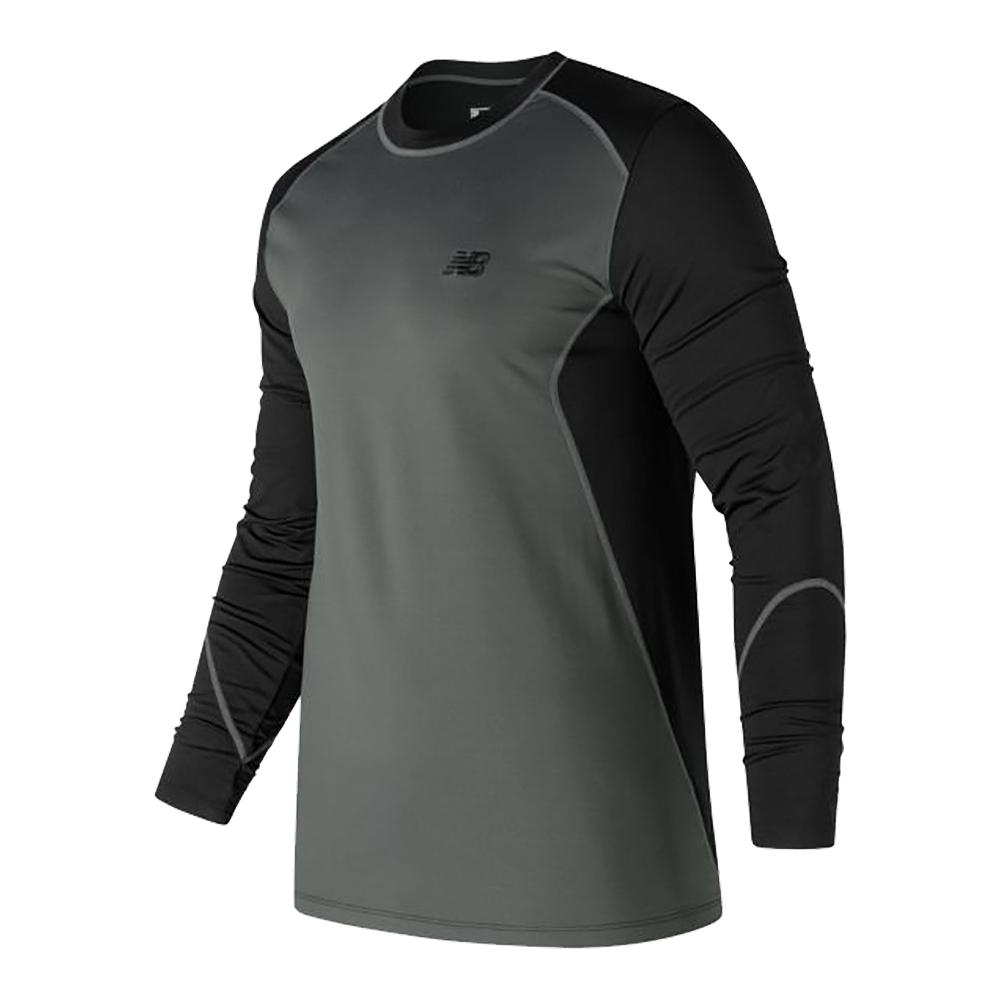 Men's Long Sleeve Cold Crew Black And Grey