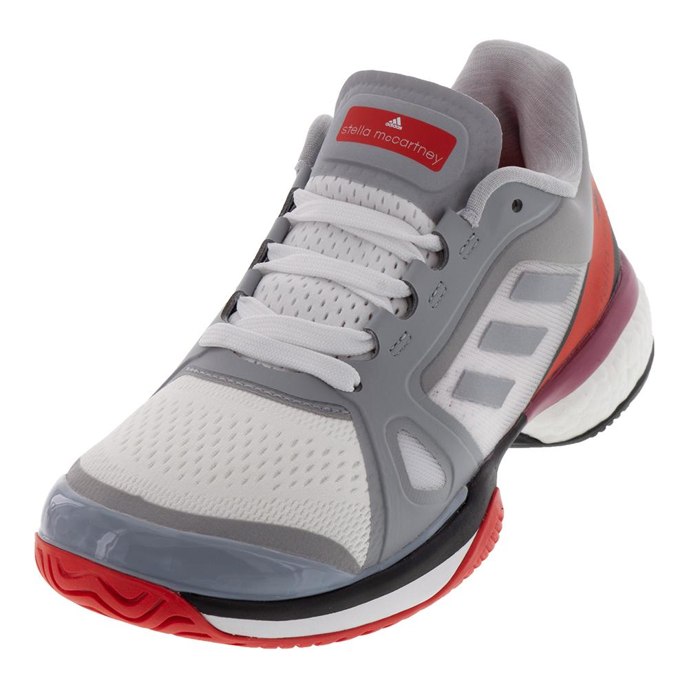 079c3eeed Adidas Women s Stella McCartney Barricade Boost Tennis Shoes Mid Gray and  Core Red