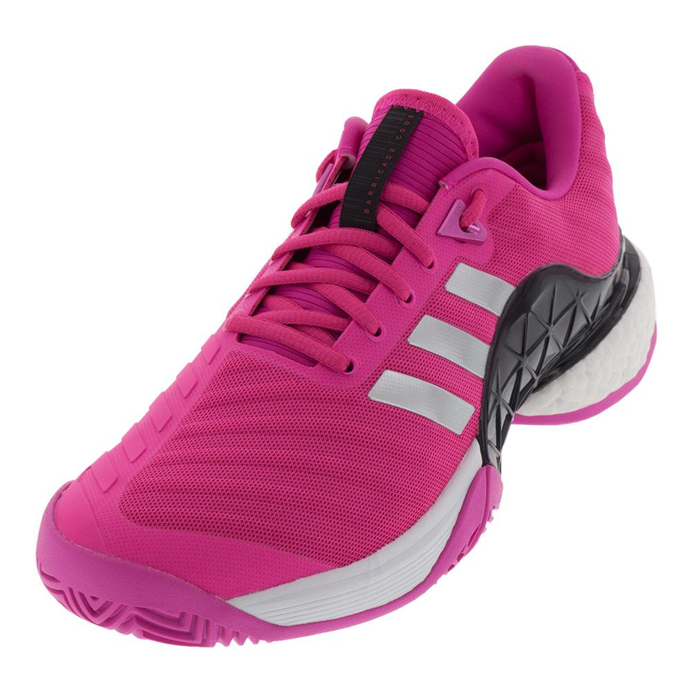 Men's Barricade 2018 Boost Tennis Shoes Shock Pink And Matte Silver