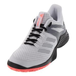 Men`s Adizero Club 2 Tennis Shoes White and Matte Silver