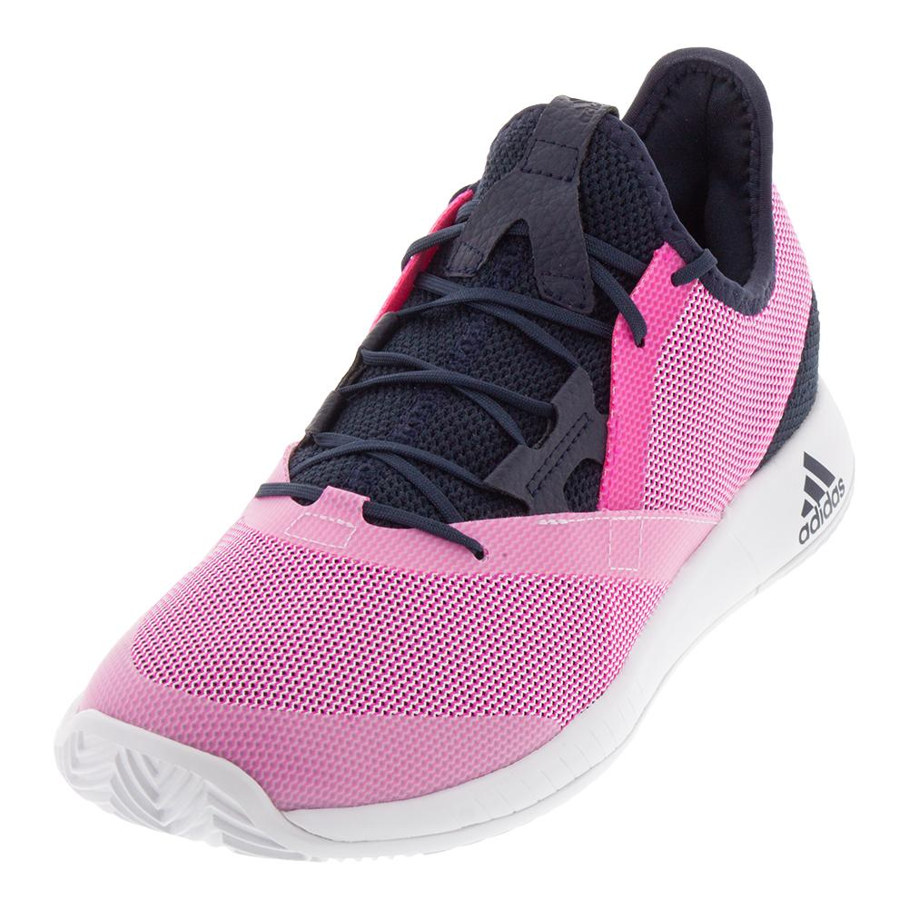 sports shoes cfb9b a6ede Adidas Women s Adizero Defiant Bounce Tennis Shoes Legend Ink and Shock Pink