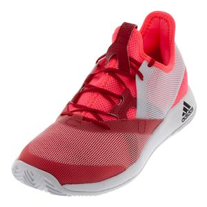 Women`s Adizero Defiant Bounce Tennis Shoes Flash Red and White