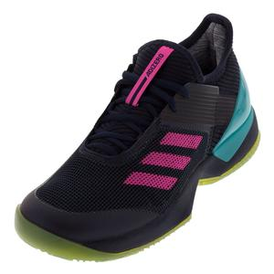 Women`s Adizero Ubersonic 3 Clay Tennis Shoes Legend Ink and Shock Pink