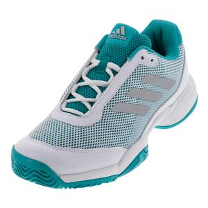 Juniors` Barricade Club Tennis Shoes Hi-Res Aqua and White