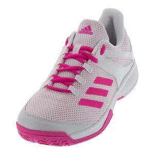 Juniors` Adizero Club Tennis Shoes White and Shock Pink
