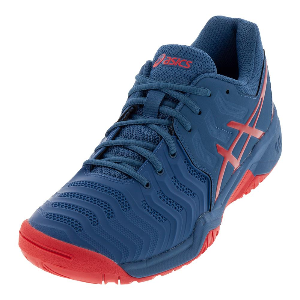Juniors ` Gel- Resolution 7 Tennis Shoes Azure And Red Alert