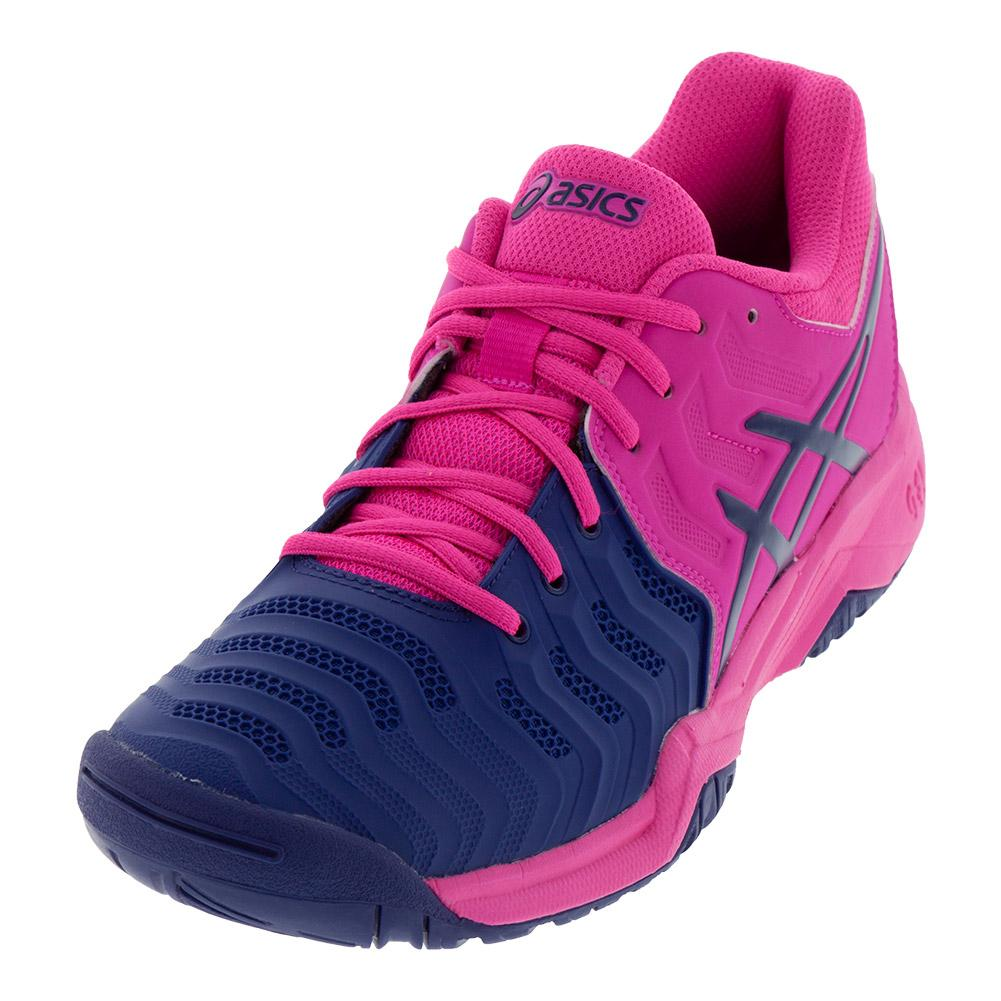 Juniors ` Gel- Resolution 7 Tennis Shoes Pink Glo And Blue Print