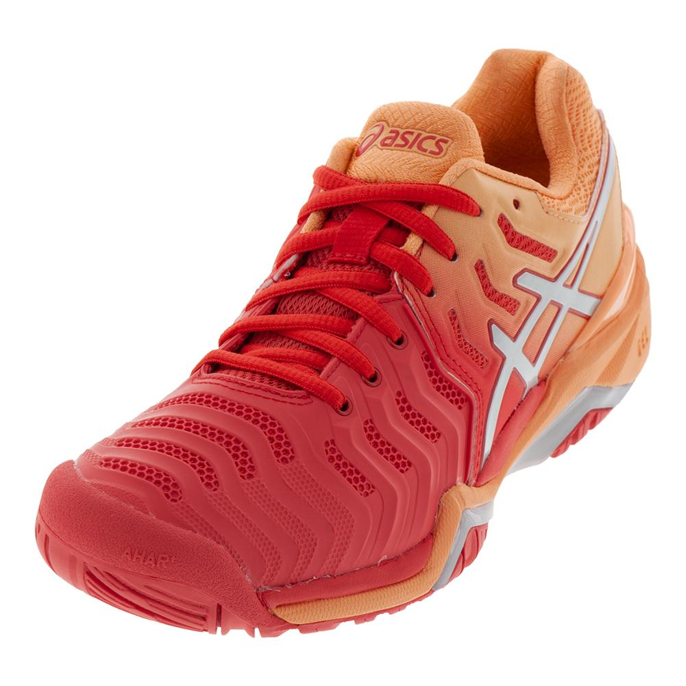 Women's Gel- Resolution 7 Tennis Shoes Red Alert And Silver