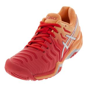 Women`s Gel-Resolution 7 Tennis Shoes Red Alert and Silver