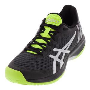 Men`s Gel-Court Speed Tennis Shoes Black and Flash Yellow
