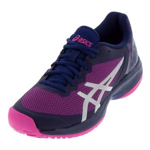 Women`s Gel-Court Speed Tennis Shoes Blue Print and Pink Glo