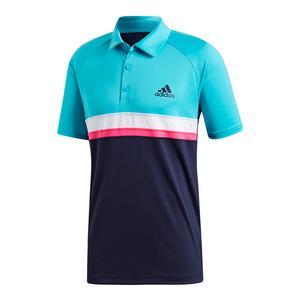 Men`s Club Colorblocked Tennis Polo Hi-Res Aqua