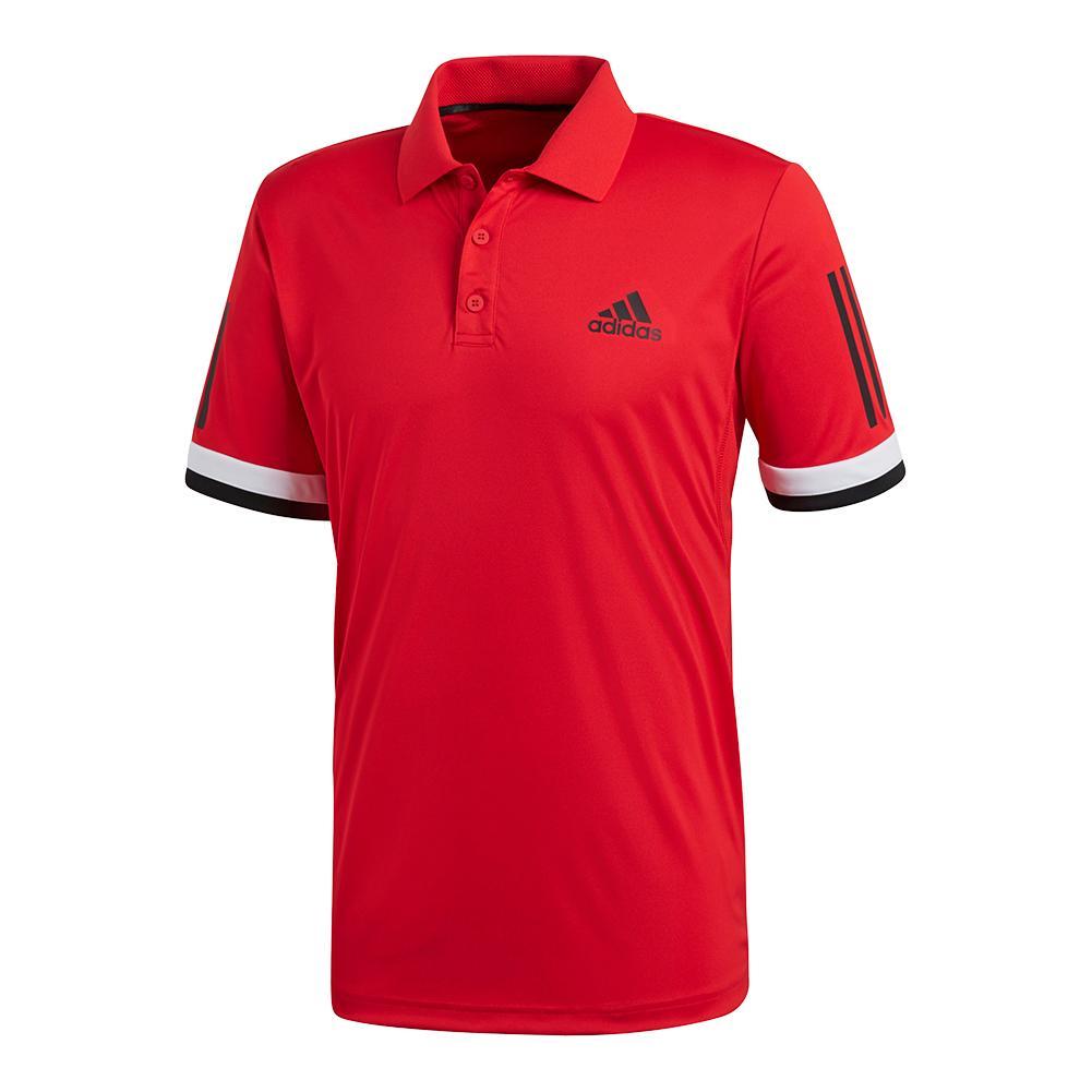 Men's Club 3 Stripe Tennis Polo Scarlet