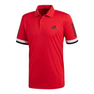 Men`s Club 3 Stripe Tennis Polo Scarlet