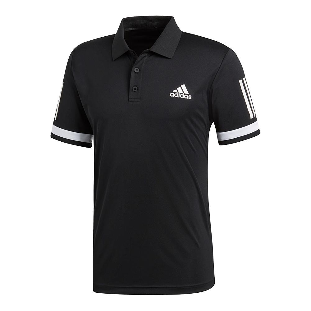 Men's Club 3 Stripe Tennis Polo Black