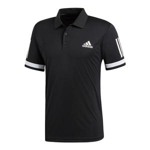Men`s Club 3 Stripe Tennis Polo Black