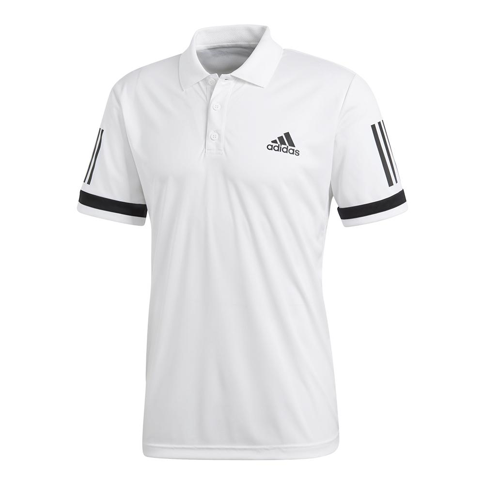 Men's Club 3 Stripe Tennis Polo White