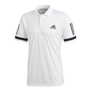 Men`s Club 3 Stripe Tennis Polo White
