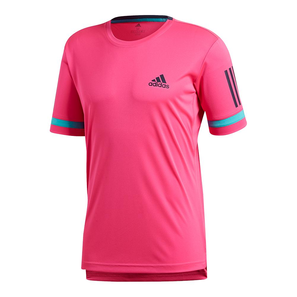 Men's Club 3 Stripe Tennis Tee Shock Pink