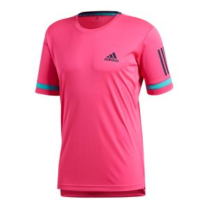 Men`s Club 3 Stripe Tennis Tee Shock Pink