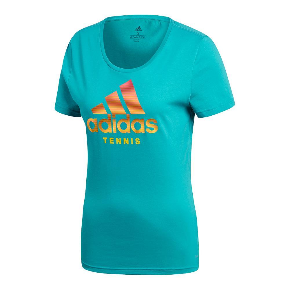 Women's Tennis Badge Of Sport Tee Hi- Res Aqua