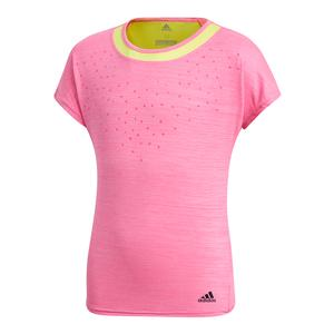 Girls` Dotty Tennis Tee Shock Pink