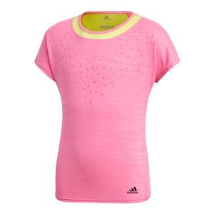 Girls` Dotty Tennis Tee Shock Pink