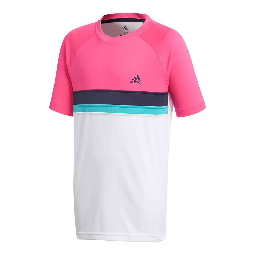 Boys ` Club Colorblock Tennis Tee Shock Pink
