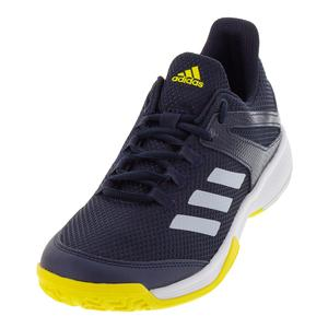 Juniors` Adizero Club Tennis Shoes Legend Ink and White