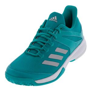 Juniors` Adizero Club Tennis Shoes Hi-Res Aqua and Matte Silver