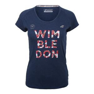 Women`s Wimbledon Core Cotton Tennis Tee Estate Blue