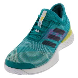 Men`s Adizero Ubersonic 3 Tennis Shoes Hi-Res Aqua and Legend Ink
